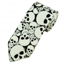 Van Buck Black & White Glow in the Dark Skull Cotton Men's Tie