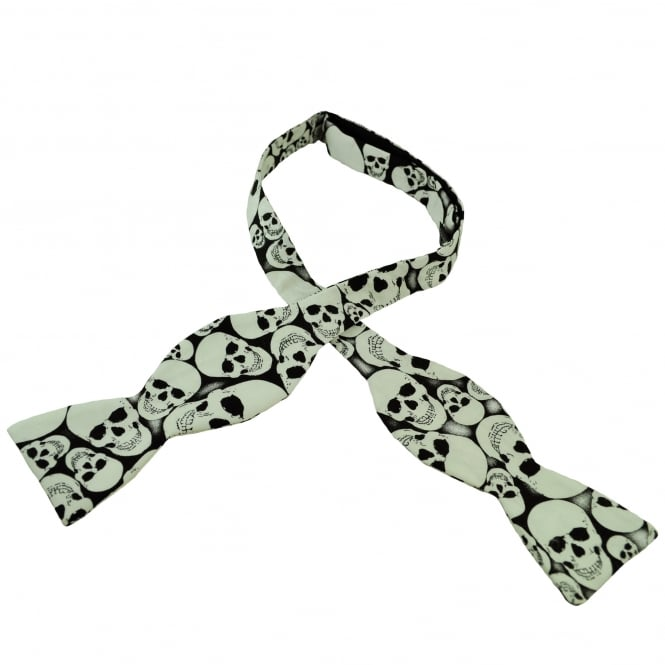 Van Buck Black & White Glow in the Dark Skull Self Tie Bow Tie
