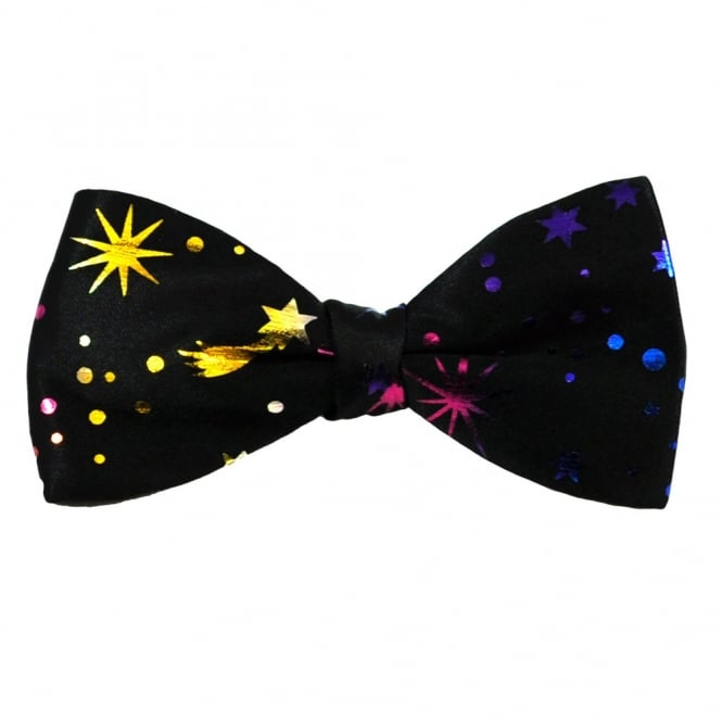Van Buck Black with Colourful Stars & Spots Bow Tie