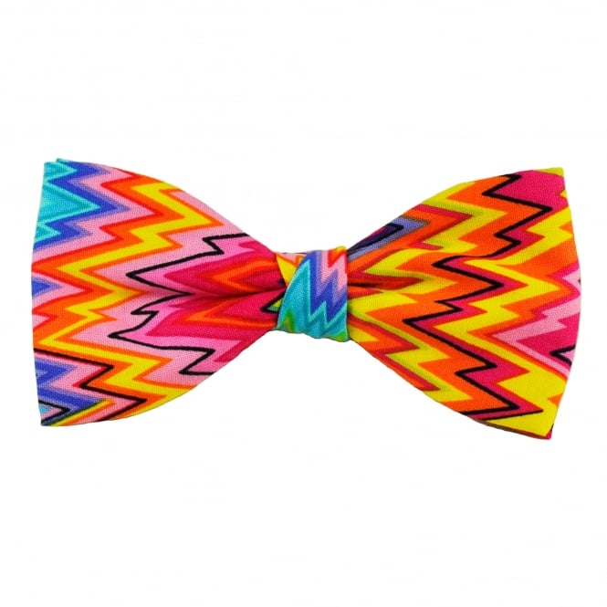 Van Buck Blue, Turquoise, Pink, Orange & Yellow Zig Zag Patterned Novelty Bow Tie
