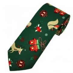 Van Buck Bottle Green Reindeer & Baubles Christmas Novelty Men's Tie