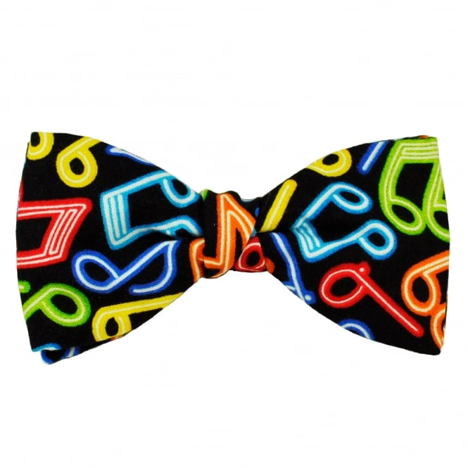 Van Buck Bright Multi Coloured Music Notes Men's Bow Tie