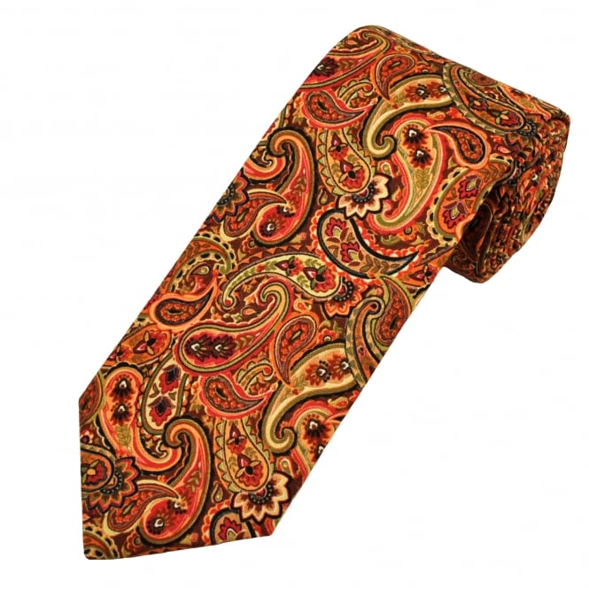 Van Buck Brown, Green, Red & Orange Paisley Patterned Cotton Men's Tie