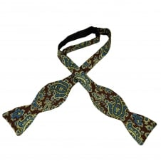 Van Buck Burgundy, Blue, Green & Ivory Pattern Silk Designer Self Tie Bow Tie
