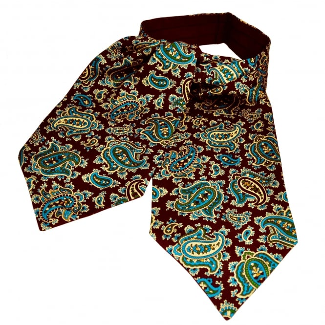 Van Buck Burgundy, Ivory, Blue & Green Paisley Patterned Silk Day Cravat