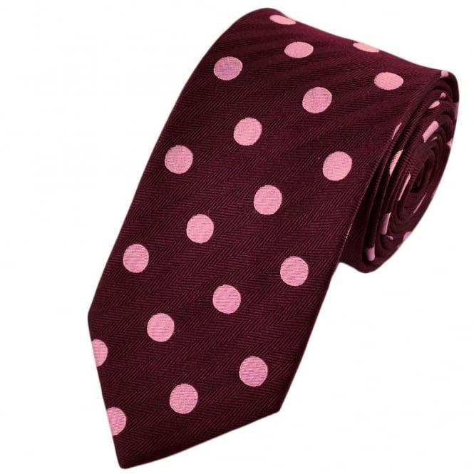 01396064d7f2 Van Buck Burgundy & Pink Bold Polka Dot Silk Tie from Ties Planet UK