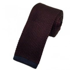 Van Buck Burgundy Silk Knitted Tie with Navy Blue Square End