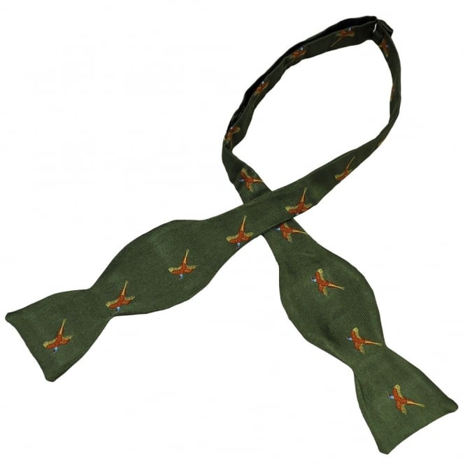 70abced944f8 Van Buck Green Flying Pheasants Silk Self Tie Bow Tie from Ties Planet UK
