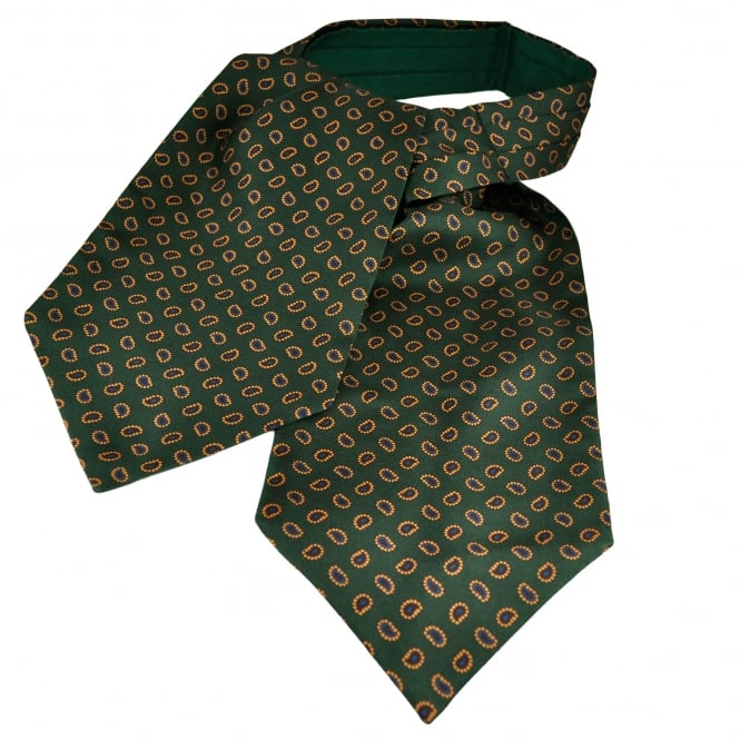 Van Buck Green, Gold, Burgundy & Blue Paisley Patterned Silk Day Cravat