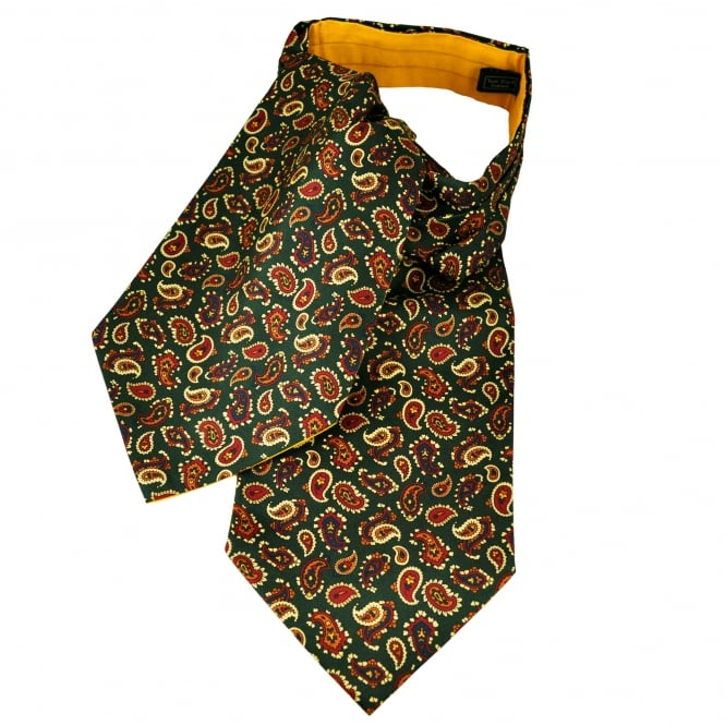 Van Buck Green, Yellow, Red, Blue & Orange Paisley Patterned Silk Day Cravat