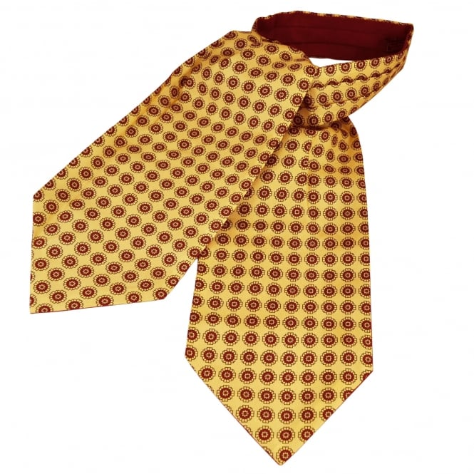 Van Buck Ivory Yellow & Red Patterned Silk Day Cravat