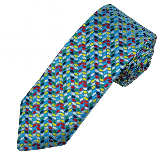 Van Buck Light Blue, Green, Red, Silver & Yellow Patterned Silk Designer Tie - Limited Edition