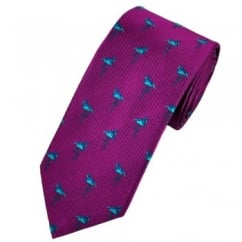Van Buck Magenta Pink Silk Tie with Turquoise Flamingo