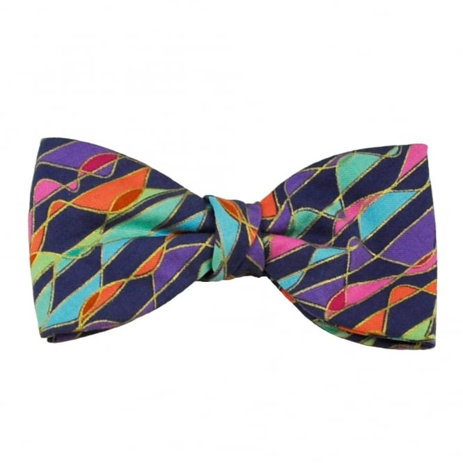 Van Buck Midnight Purple & Multi Coloured Patterned Bow Tie