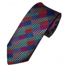 Van Buck Multi Coloured Rectangle Patterned Silk Designer Tie - Limited Edition