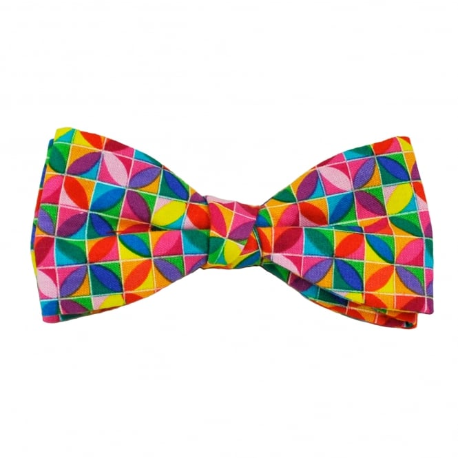 Van Buck Multi Coloured Square & Circle Patterned Bow Tie