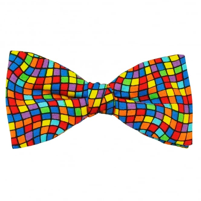 Van Buck Multi Coloured Wavy Stripes Square Pattern Cotton Men's Bow Tie