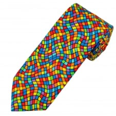 Van Buck Multi Coloured Wavy Stripes Square Pattern Cotton Men's Tie