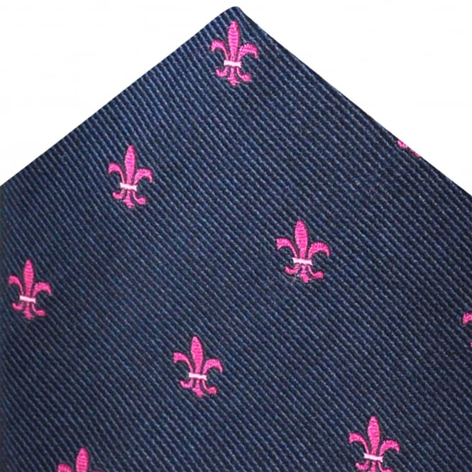 Van Buck Navy Blue, Fleur de Lis Emblem Silk Pocket Square Handkerchief