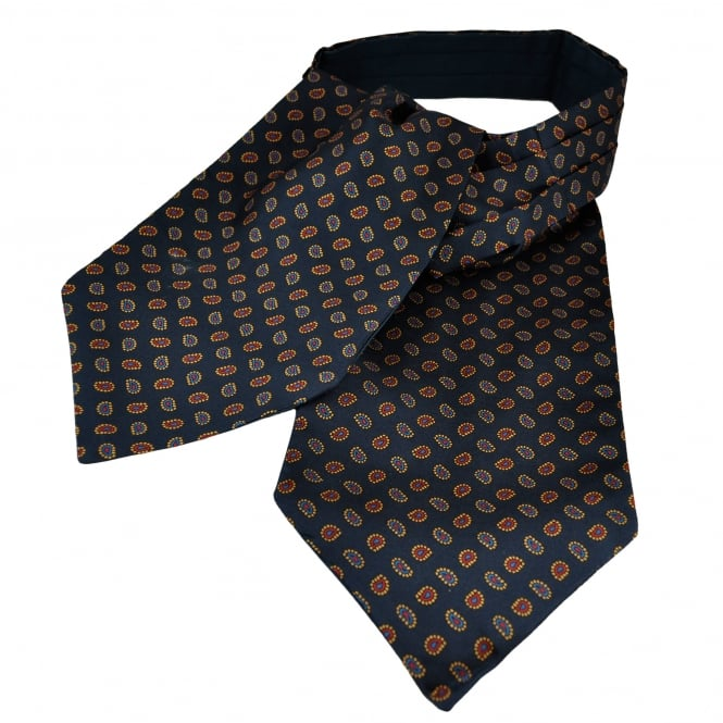 Van Buck Navy Blue, Gold, Blue & Red Paisley Patterned Silk Day Cravat