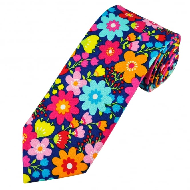 Van Buck Navy Blue & Multi Coloured Flower Patterned Cotton Men's Tie