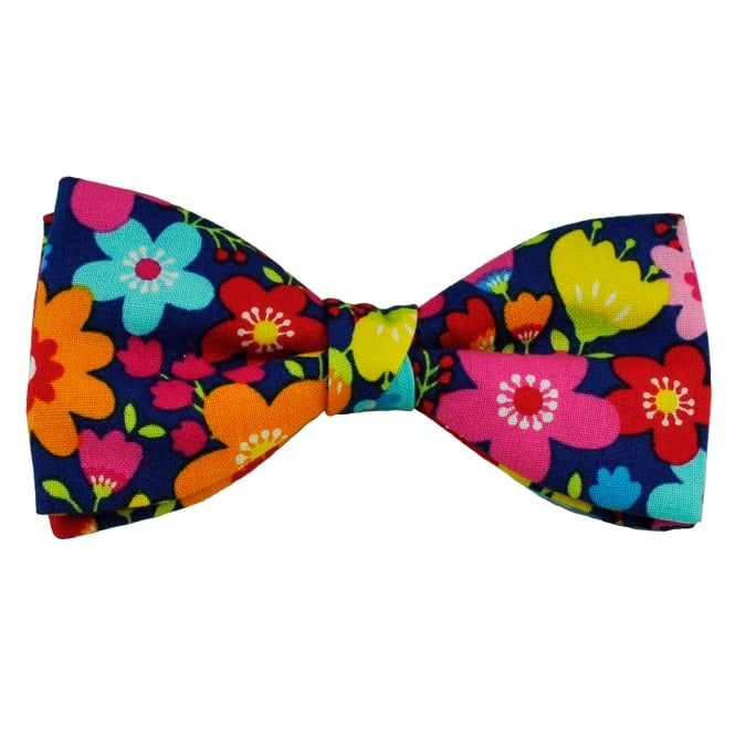 Van Buck Navy Blue & Multi Coloured Flower Patterned Novelty Bow Tie