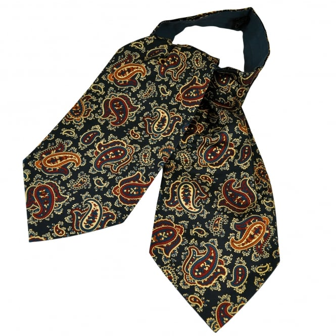 Van Buck Navy Blue, Red, Orange & Yellow Paisley Patterned Silk Day Cravat