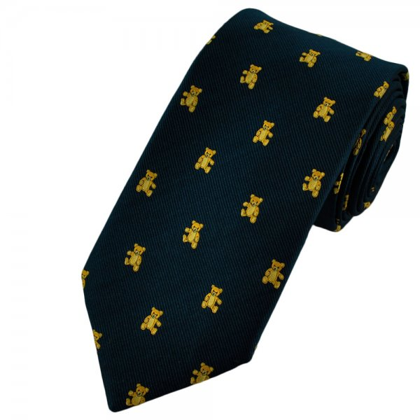 Ties Planet Van Buck Navy Blue Silk Tie With Gold Teddy