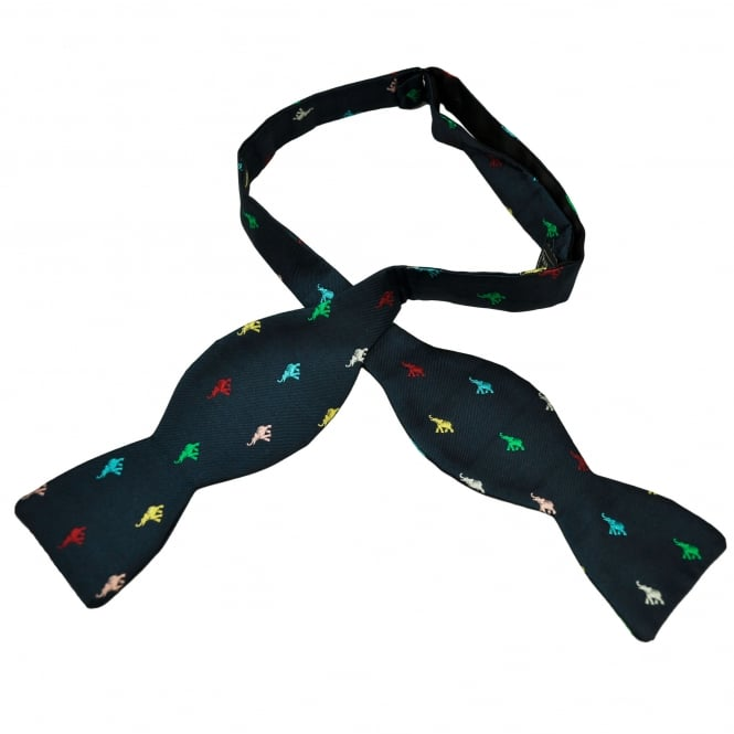 Van Buck Navy Blue with Multi Coloured Elephants Silk Self Tie Bow Tie