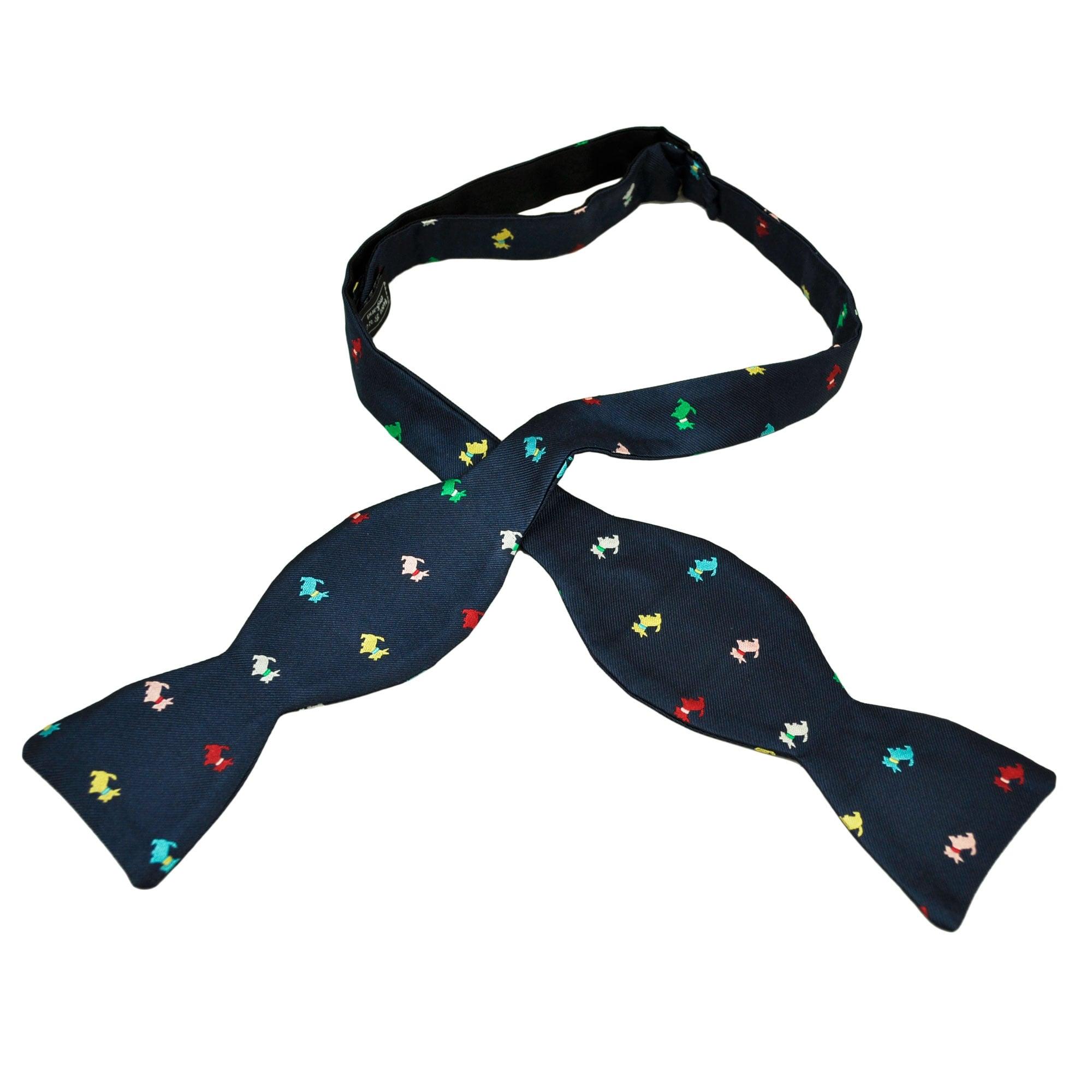 Dark Blue with Scotty Dog Pattern Bow Tie