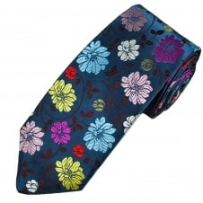 Van Buck Navy, Light Blue, Yellow, Red & Pink Flower Patterned Silk Designer Tie - Limited Edition