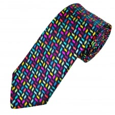Van Buck Navy & Multi Coloured Patterned Silk Designer Tie - Limited Edition
