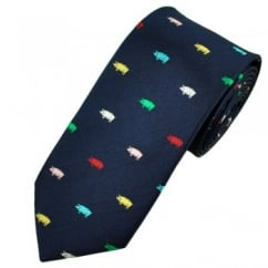Van Buck Navy & Multi Coloured Pig Tie