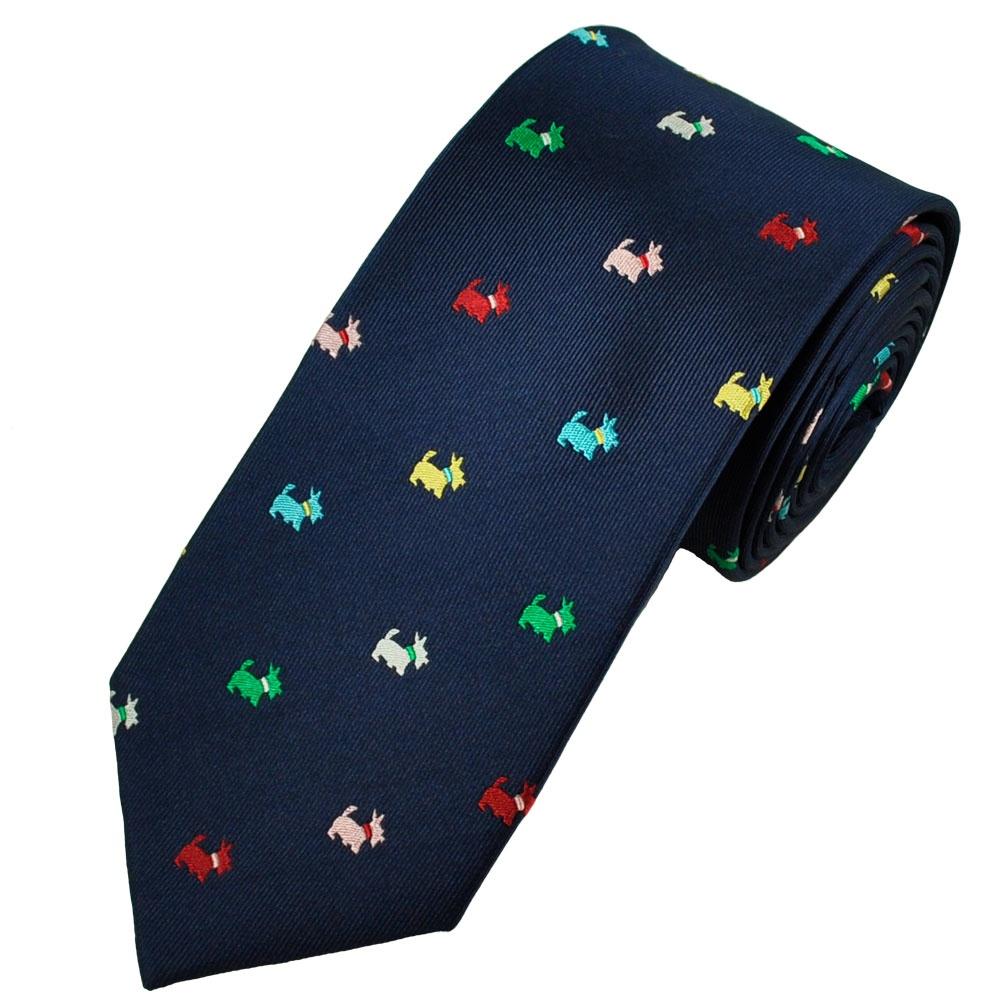 Van Buck Navy & Multi Coloured Scottie Dog Tie from Ties ...