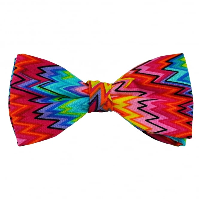 Van Buck Pink, Lilac, Blue, Turquoise, Yellow, Orange & Green Zig Zag Patterned Novelty Bow Tie
