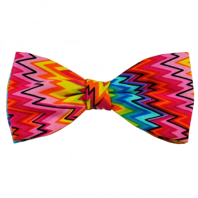 Van Buck Pink, Orange, Yellow, Blue & Turquoise Zig Zag Patterned Novelty Bow Tie