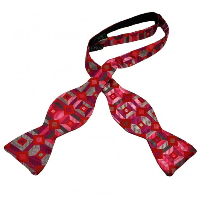 Van Buck Pink, Red & Purple Diamond Patterned Silk Self Tie Bow Tie - Limited Edition