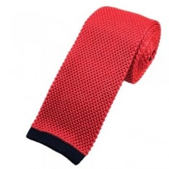 Van Buck Pink Silk Knitted Tie with Navy Blue Square End
