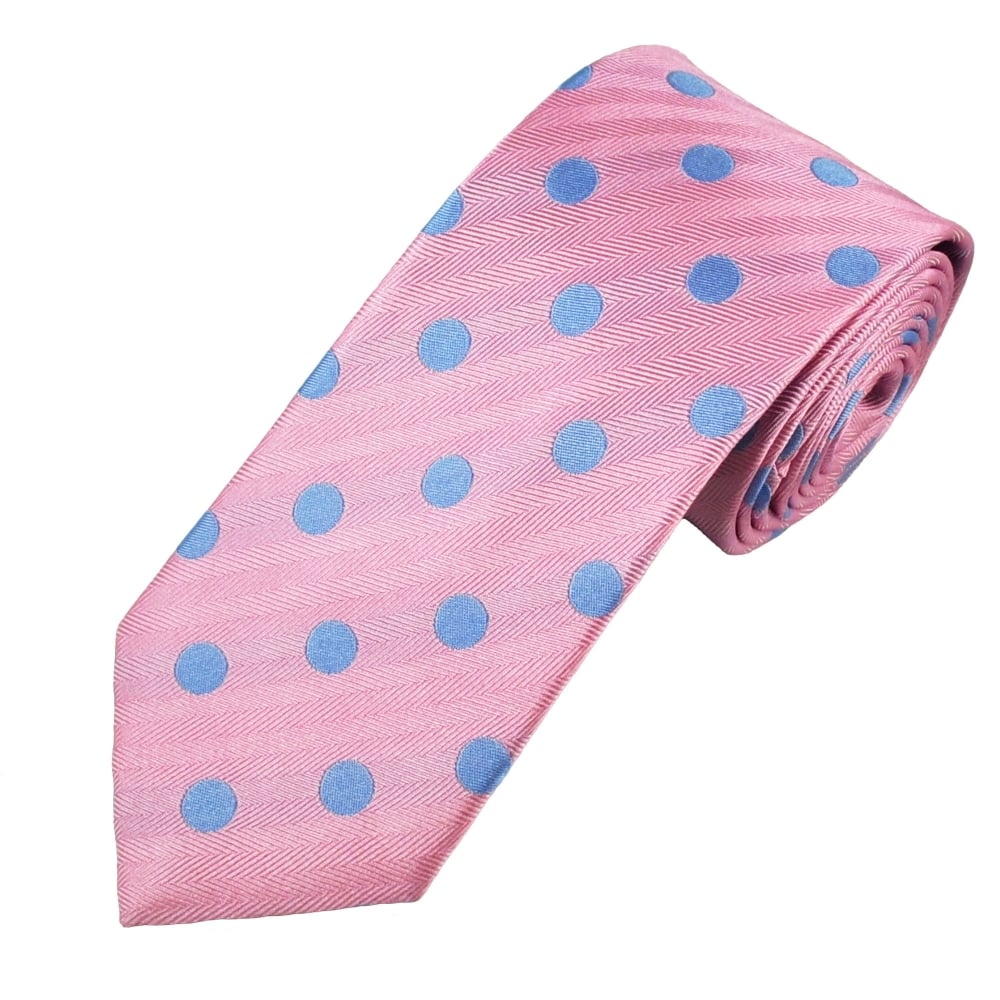 40a8af97774b Van Buck Pink & Sky Blue Bold Polka Dot Silk Tie from Ties Planet UK