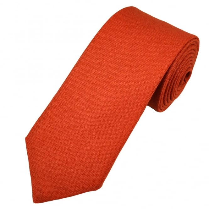 Van Buck Plain Pumpkin Orange Lambswool Tie