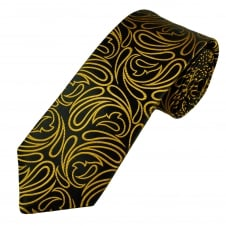 Van Buck Platinum Black & Gold Paisley Patterned Silk Designer Tie - Limited Edition