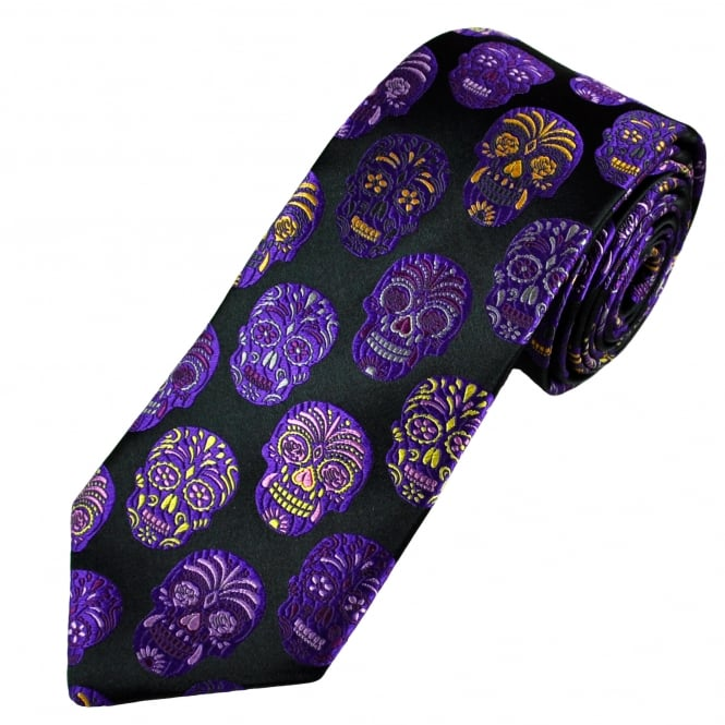 Van Buck Platinum Black & Multi Coloured Skulls Silk Designer Tie - Limited Edition