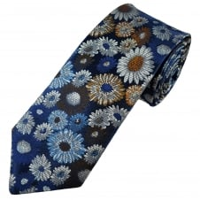 Van Buck Platinum Blue, Brown & Silver Flower Patterned Silk Designer Tie - Limited Edition