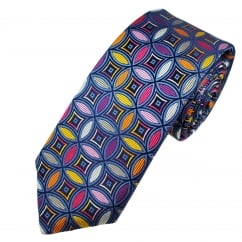 Van Buck Platinum Blue & Multi Coloured Circle Patterned Silk Designer Tie - Limited Edition
