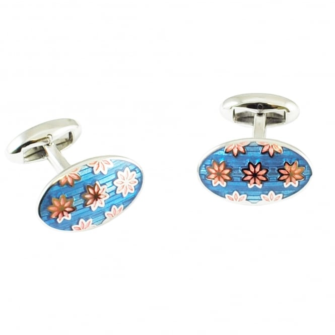 Van Buck Platinum Blue & Pink Flower Oval Designer Cufflinks