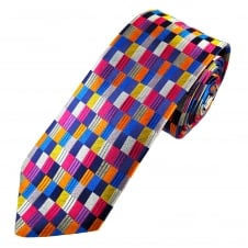 Van Buck Platinum Blue, Pink, Gold & Silver Checked Silk Designer Tie - Limited Edition