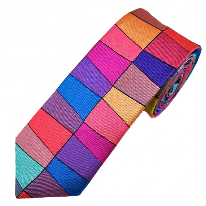 Van Buck Platinum Blue, Pink, Purple, Orange & Yellow Patterned Silk Designer Tie - Limited Edition
