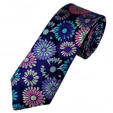 Van Buck Platinum French Navy & Multi Coloured Flowers Silk Designer Tie - Limited Edition