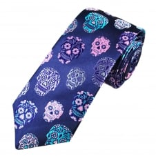 Van Buck Platinum French Navy & Multi Coloured Skulls Silk Designer Tie - Limited Edition