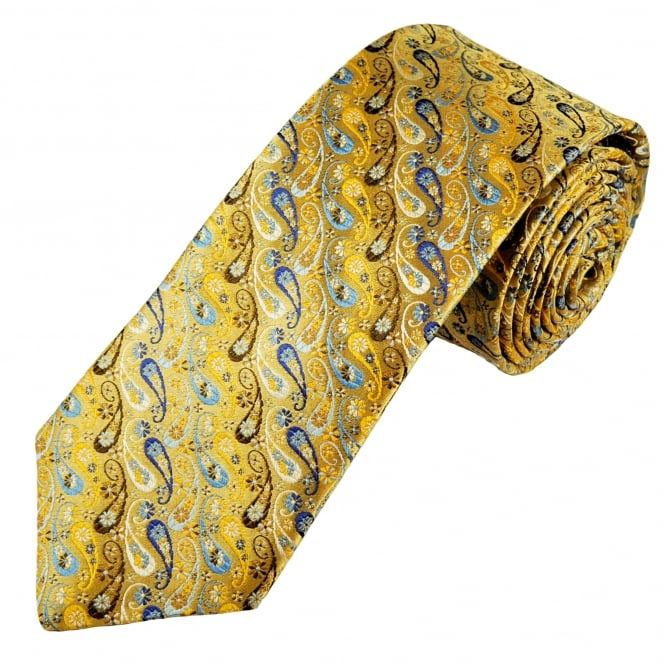 Van Buck Platinum Gold, Brown, Silver & Shades Of Blue Paisley Patterned Silk Designer Tie - Limited Edition
